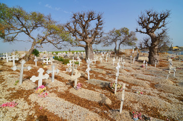 Cemetery on Fadiouth Island, composed of sea shells, Senegal, Africa