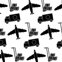 silhouette truck and airplane transport vehicle background