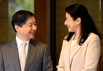 Japanese Crown Prince Naruhito speaks with Crown Princess Masako prior to depart for his Brazil visit at Togu Palace in Tokyo