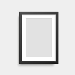 Realistic black square photo frame. Vector.