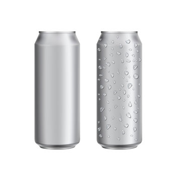 Aluminium can drink soad or beer package template. Realistic 3d mockup. Ready for design. Vector illustration.