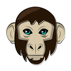 Monkey Wild animal head vector illustration graphic design