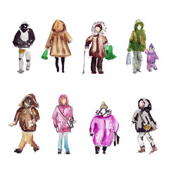 People on the street in warm clothes Watercolor sketch