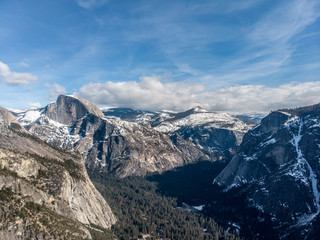 Scenic mountains view in Yosemite National Park