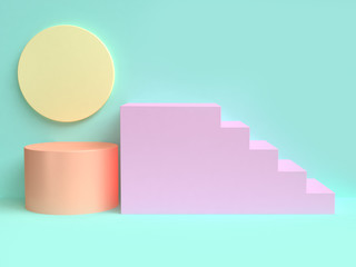 pink staircase minimal green scene abstract 3d rendering