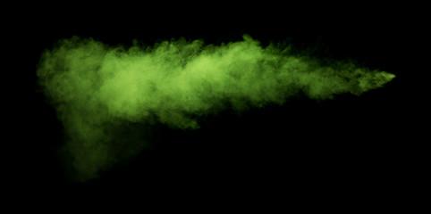 Fototapete - Green smoke on black background.
