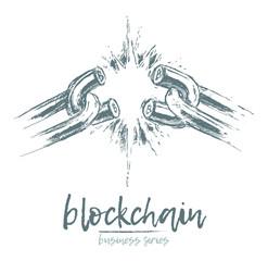 Business concept broken chain blockchain vector