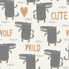 Seamless childish pattern with cute wolf. Kids texture for fabric, wrapping, textile, wallpaper, apparel.