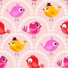 seamless cute cartoon birds wallpaper pattern background