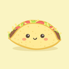 Cute Taco Mexico Fast Food Vector Illustration Cartoon Character Icon