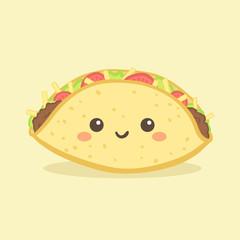 Cute Taco Mexico Fast Food Vector Illustration Cartoon Character Icon