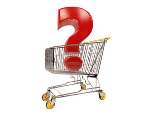 3d Shopping Cart with Red Question Sign Information Icon