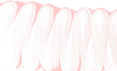 Natural soap texture. Appealing millenial pink foam trace background. Artistic awesome soap suds. Cleanliness, cleanness, purity concept. Vector illustration.