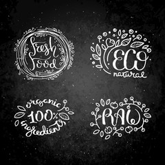 Eco vector organic labels, bio emblems for stickers and restaurants menu, natural products packaging.