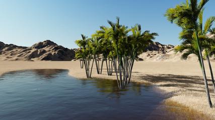 3d rendering - Oasis in the desert