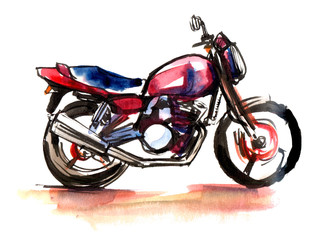 Hand Drawn real watercolor and ink sketch of motorcycle. Red blue and black colors. Illustration isolated on a white background.