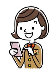 女子学生:スマートフォン