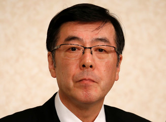 Kobe Steel's incoming CEO Mitsugu Yamaguchi attends a news conference in Tokyo