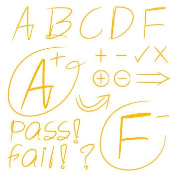 hand drawn grade results, exam result symbols