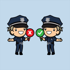 Cute Cops holding signage ,standing and smile , Police woman or officer security in uniform illustration, Vector illustration in a flat style