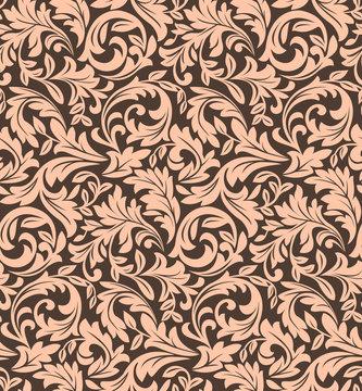 Floral pattern. Wallpaper baroque, damask. Seamless vector background. Dark ornament