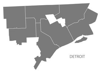 Detroit Michigan city map with districts grey illustration silhouette shape