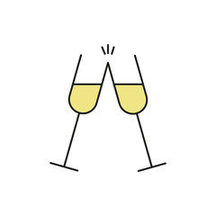 Double Champagne Glass Thin Line Icon Illustration