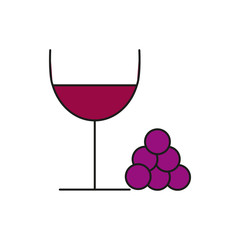 Stylish Wine Glass Thin Line Icon Illustration