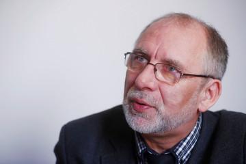 Burkans, head of money laundering prevention office, speaks in Riga