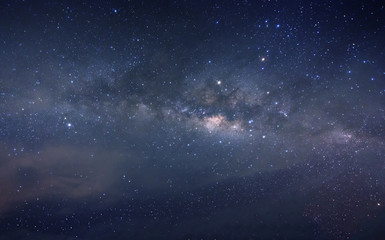 milky way galaxy during cloudy dark sky. image contain soft focus, blur and noise due to long expose and high iso.