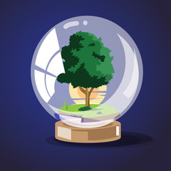 tree with sunset in glassball. save the tree concept - vector