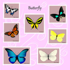 set of postage stamps on a pink background, seven species of butterflies with names