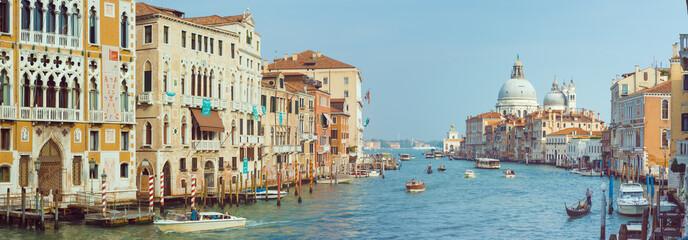 anoramic view of Canal Grande with Basilica di Santa Maria della Salute in Venice, Italy.