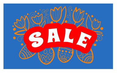 Easter Sale background poster with eggs and discounts percentage. Vector
