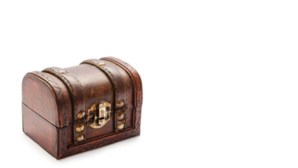 Old vintage treasure chest. Isolated on white background. copy space, template.
