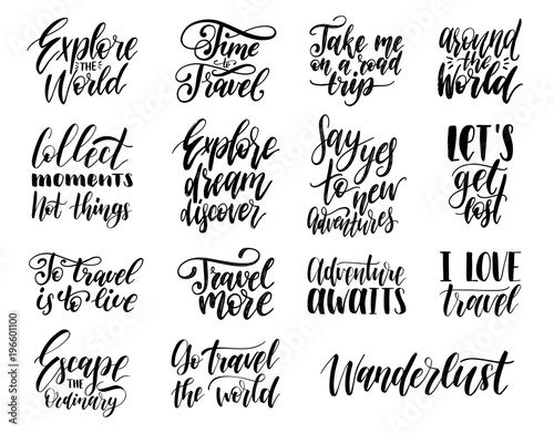 Vector Set Of Hand Lettering With Phrases About Traveling Impressive Inspirational Phrases