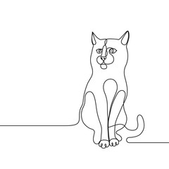 Continuous line drawing cat single line concept for veterinary service, pet shops advertisement, animal adoption, grooming salon, pet care products