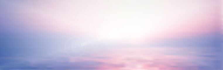 panorama twilight blurred gradient abstract background. colorful sea and sky with sunlight rays backdrop.