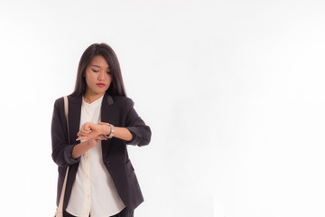 young business Asian woman checking time isolated on white background, Copy space
