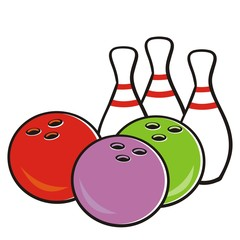Bowling ball and pins, vector icon for sport game tournament. Colored illustration, creative isolated object. Bowling set.