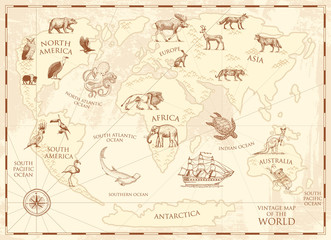 Vintage world map with wild animals and mountains. Sea creatures in the ocean. Old retro parchment. wildlife on earth concept. background or poster for kids. engraved hand drawn, mainland and island.