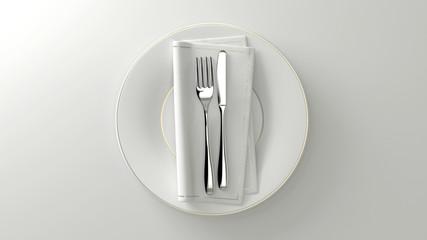 Couverts au design épuré. Fourchette, couteau, serviette sur une assiette. Rendu 3D.