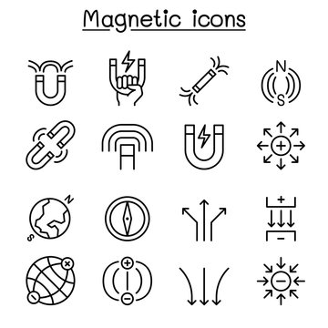 Magnet icon set in thin line style