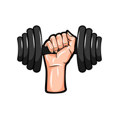Dumbbell in hand icon.  illustration.