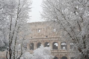 Alberi sotto la neve nel centro di Roma