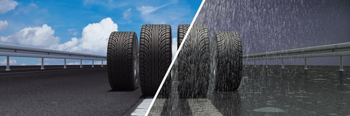 Reifen auf trockener und nasser Straße