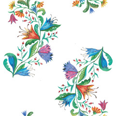 Colorful seamless watercolor floral pattern.