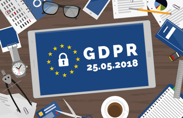 GDPR General Data Protection Regulation tablet on desk concept