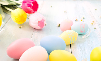Wall Mural - Colorful Easter eggs with tulip flower on rustic wooden planks background. Holiday in spring season. vintage pastel color tone. Close-up composition.