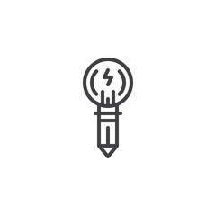 Light bulb pen lightning outline icon. linear style sign for mobile concept and web design. Creative idea simple line vector icon. Symbol, logo illustration. Pixel perfect vector graphics